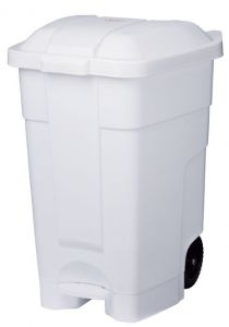 T102032 Mobile plastic pedal bin White 70 liters (multiple 3 pcs)