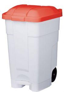 T102047 Contenitore mobile a pedale plastica bianco-rosso 70 litri (confezione da 3 pezzi)