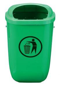 T102050 Gettacarte polietilene verde 50 litri da esterno