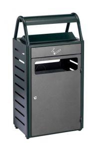T103016 Gettacarte con posacenere verde/silver per esterni 50+8 litri