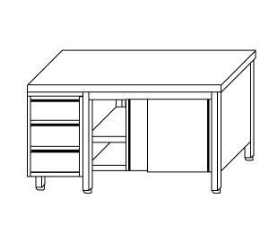 TA4032 Tavolo armadio in acciaio inox con porte su un lato e cassettiera SX 210x60x85
