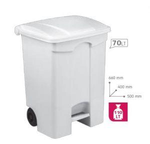T115070 Contenitore mobile a pedale in plastica BIANCO 70 litri (multipli 3 pz)