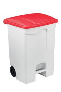 T115077 Contenitore mobile a pedale in plastica bianco coperchio rosso 70 litri (confezione da 3 pezzi)