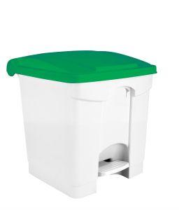 T115358 Pattumiera a pedale in plastica Bianca coperchio Verde 30 litri