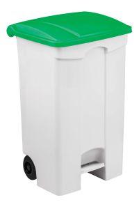 T115598 Contenitore mobile a pedale in plastica bianco coperchio verde 90 litri