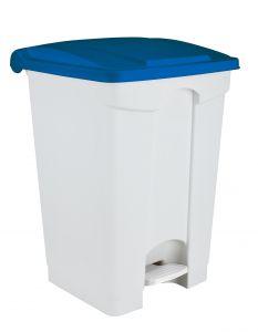 T115755 Pattumiera a pedale in plastica Bianca coperchio Blu 70 litri