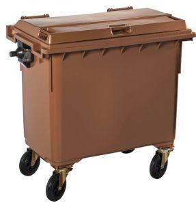 T766654 Contenitore rifiuti da esterno 4 ruote 770 litri MARRONE