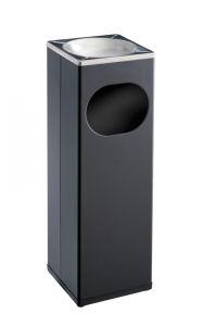 T790002 Portacenere-gettacarte quadrato metallo nero/inox 15 litri