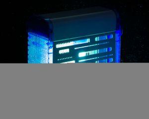 T903074 Sterminatore d'insetti metallo bianco Blu con griglia elettrica Insettivor Fluo 40W