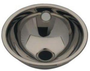 LX1000 Lavabo sferico in acciaio inox scarico centrale 205x235x115 mm - LUCIDO -