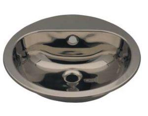 LX1240 Lavabo circolare con foro rubinetto in acciaio inox 414x490x160 mm - SATINATO-