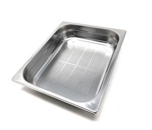 GST1/2P040F Contenitore Gastronorm 1/2 h40 forato in acciaio inox AISI 304