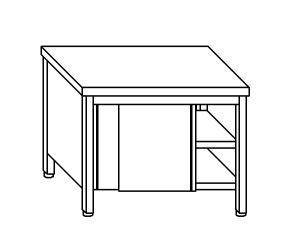 TA4079 Tavolo armadio in acciaio inox con porte su un lato 160x70x85