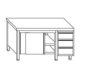TA4089 Tavolo armadio in acciaio inox con porte su un lato e cassettiera DX 190x70x85