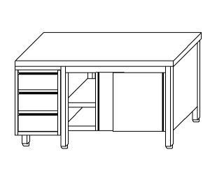 TA4102 Tavolo armadio in acciaio inox con porte su un lato e cassettiera SX 210x70x85