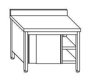 TA4109 Tavolo armadio in acciaio inox con porte su un lato con alzatina 110x70x85