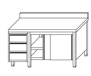 TA4131 Tavolo armadio in acciaio inox con porte su un lato, alzatina e cassettiera SX 150x70x85