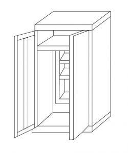 IN-Z.696.03.50 Armadio Portascope a 2 Ante zinco plastificato -  100x50x200 H