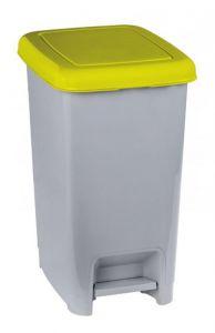 T909966 Pattumiera a pedale polipropilene grigio con coperchio giallo 60 litri (multipli 6 pz)
