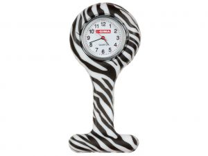 GI-20422 - OROLOGIO PER INFERMIERI - rotondo - fantasia zebra