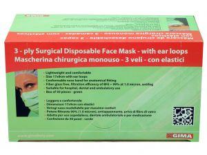 GI-25543 - MASCHERINA 3 VELI FILTRO 99% verde - con elastici