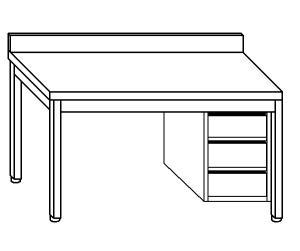 TL5128 Tavolo da lavoro in acciaio inox AISI 304 cassettiera dx alzatina 200x70x85
