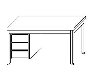 TL5134 Tavolo da lavoro in acciaio inox AISI 304 cassettiera sx alzatina 100x70x85