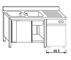 LT1182 Lavatoio su armadio per lavastoviglie 2 vasche 1 sgocciolatoio dx alzatina ante scorrevoli 160x60x85