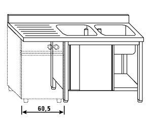 LT1186 Lavatoio su armadio per lavastoviglie 2 vasche 1 sgocciolatoio sx alzatina ante scorrevoli 180x60x85