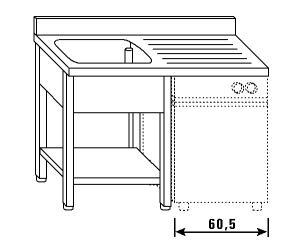 LT1197 Lavatoio su gambe e ripiano per lavastoviglie 1 vasca 1 sgocciolatoio dx alzatina ripiano 140x60x85