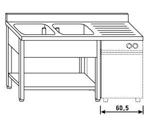 LT1202 Lavatoio su gambe e ripiano per lavastoviglie 2 vasche 1 sgocciolatoio dx alzatina ripiano 200x70x85