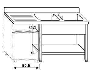 LT1203 Lavatoio su gambe e ripiano per lavastoviglie 2 vasche 1 sgocciolatoio sx alzatina ripiano 160x60x85